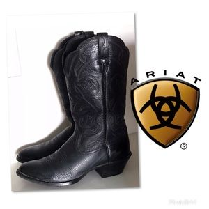 ARIAT BLACK COUNTRY WESTERN RODEO COWBOY BOOTS 7.5